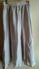 新品タグなしVISベージュサテンシンプルロングフレアースカート