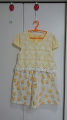 白と黄色の可愛い半袖ワンピース!120cm☆