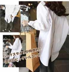 ホワイト XL バックスタイルが特徴的 ビッグシルエット シャツ