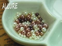 穴なしパール チョコ系×ホワイト2〜4ミリMIX レジン 100粒