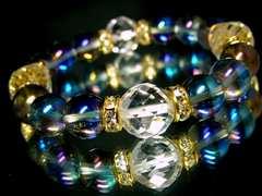 ダイヤカット水晶§12ミリ§ブルーオーラ§10ミリ§金ロンデル