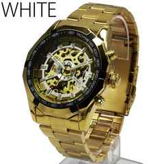 ★BF★全面ゴールド3Dフルスケルトン自動巻き腕時計WHT