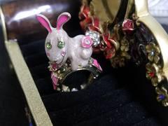 新品アンティーク調可愛いウサギさんリング指輪11号〜フリー