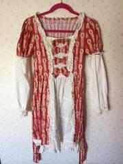 BODYLINE ひざ丈ワンピース 袖の取り外し可能 赤×白