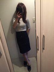 ミーア☆フロントレースアップデニムタイトS 美品♪