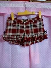 古着:リズリサ:フリーサイズ:赤チェック柄、裾フリルにサイド茶リボンのショートパンツ