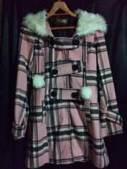 激かわ!! TRALALA コート ピンク チェック トゥララ N2m
