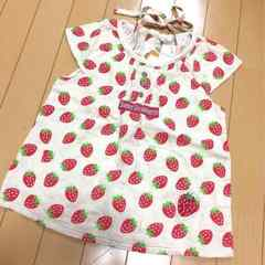 新品◆ダブルガーゼ◆いちご柄シャツブラウス◆130苺イチゴ
