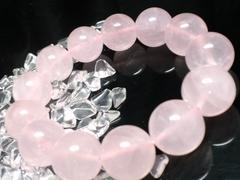 高級天然石§16ミリ§ローズクォーツ紅水晶数珠