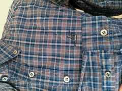 ヒス darkblue×brown  チェックシャツ
