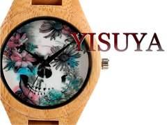 【新品・未使用】ドクロアート【竹製】大型 メンズ腕時計
