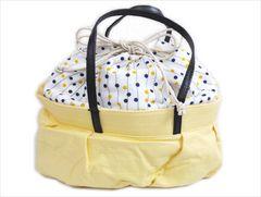 ふわクシュ巾着バッグ白色地ドットライン黄色 浴衣&カジュアル着物&デニム