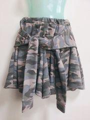 美品コルザCOLZA*迷彩柄腰巻きキュロットスカート*M