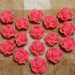 16 コ ☆ 約 1.3 cm ☆ (サーモンピンク) 樹脂薔薇