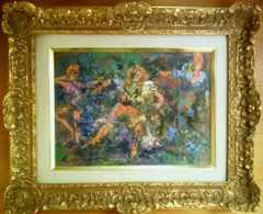絵画 油彩画 松本富太郎『草上の踊り』真作保証 巨匠