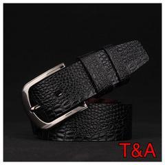 高品質 クロコダイル 革 光沢 カジュアル レザーベルト黒色