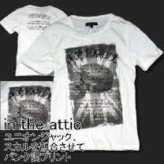〓in the attic〓スカル&ユニオンジャック*プリントTeeシャツホワイトL