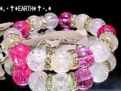 天然石★12ミリレッドカラークラック水晶&爆裂クラック水晶数珠