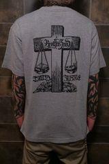 即決ブラザーフッド十字架天秤Tシャツ!ホットロッドバイカーカスタムスタイル