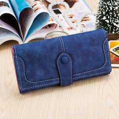 新品☆ふわふわ手触り三つ折りレディース長財布ブルー青レディース