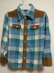 チェックウエスタン風ネルシャツ英字ラメプリ男女児100