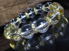 天然本水晶14ミリ波形金ロンデル数珠