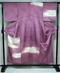 千鳥650*光沢 紫ぼかし 白い松柄 付下げ
