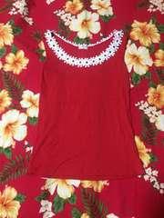 レストローズ☆赤地に可愛い白のお花がいっぱいトップス☆