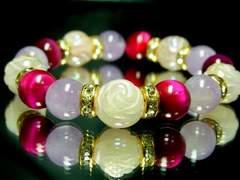 12ミリ薔薇彫ローズクオーツ・ラベンダー紫水晶・ピンクタイガーアイ天然石