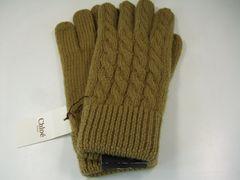 未使用レベルクロエニット編み込み手袋 カーキ