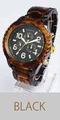 ★MIYOTAmovement搭載べっ甲カラーメタルコンビ腕時計SR4BK