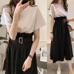 セットアップ  ロングスカート + 半袖 Tシャツ (3XL寸・黒)