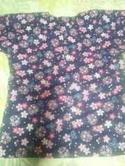 ☆処分品紺×桜蝶柄ダボシャツ140