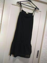 オリーブデオリーブM-L コットン花柄スカート付きワンピース 黒
