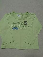familiarファミリア☆黄緑色ロンT☆長袖Tシャツ*車アップリケ☆90