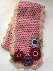 ハンドメイド マフラー ウール100% ピンク アネモネ axes好き 花