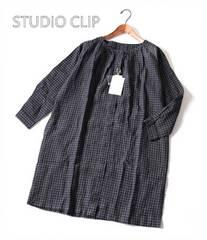 新品♪STUDIO CLIP*スタジオクリップ*チェックリネンワンピース♪ゆったり
