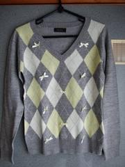 アーガイルセーター レディースセーター リボン リボン付きセーター セーター
