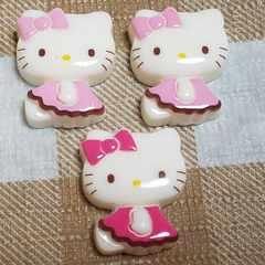 Z ☆計3コ (2色ピンク) お座り横向き キティ ☆ 約2.1cm ☆ デコパ
