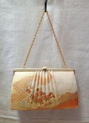◆着物バッグ 2way/菊 梅 扇子模様柄刺繍入り 和装小物 着物�F