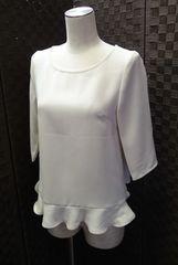 ■STUDIOUS■日本製 裾フリル 五分袖シャツ/アイボリー/F
