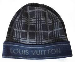 新品同様正規ルイヴィトン帽子ニット帽ネイビーグレーウール素材ニットキャップ男女兼用