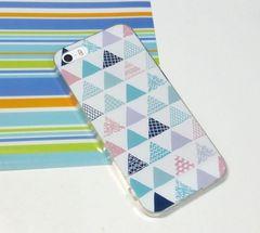 iPhone8 TPU ソフトケース 幾何学トライアングル柄 ブルー