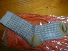 プランテーションウール混女性用靴下サイズフリーベージュ柄
