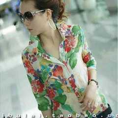 新品◆鮮やか花柄シャツブラウス◆XL七分袖八分袖