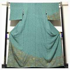 極上 上質 正絹 グリーン 更紗模様 訪問着 袷 中古品