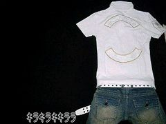 カジュアル*爽やかワッペン&刺繍★ポロシャツホワイトL