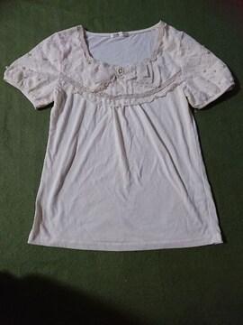 新品 axes femme  アクシーズ レースリボン トップス Tシャツ パール ビジュー
