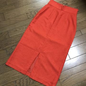 クロアジュールアンディコールオレンジリネン風 ロングスカート