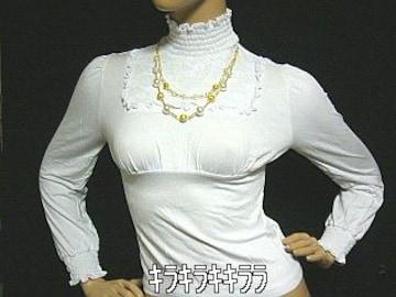 Divasゴールド2連ネックレス付*胸元刺繍カットソーホワイト